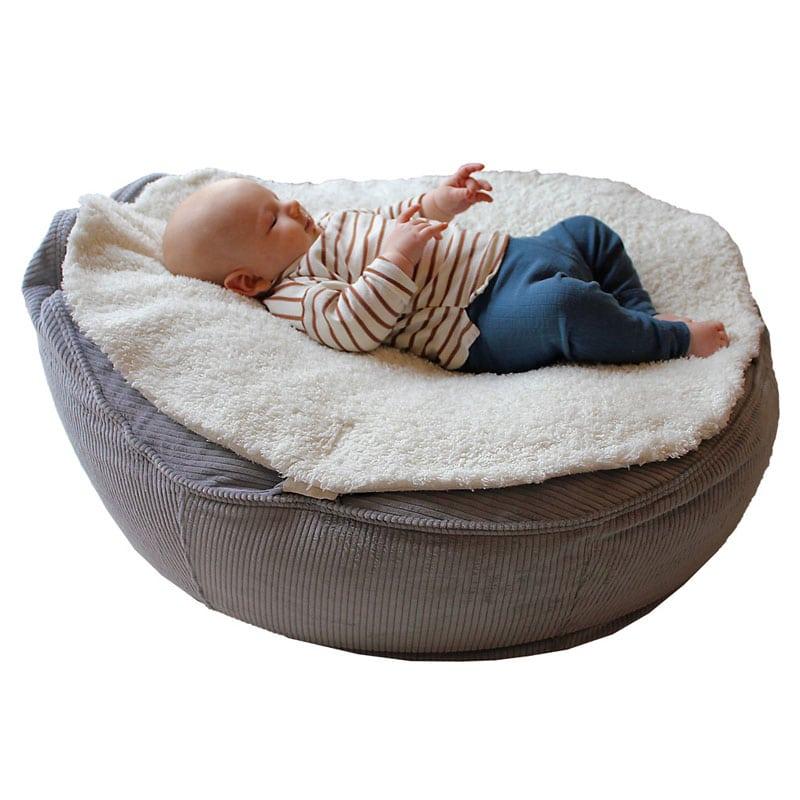 Plüsch Auflage Baby Sitzsack Liegesack aus Bio Teddyplüsch und Canvas Baumwolle