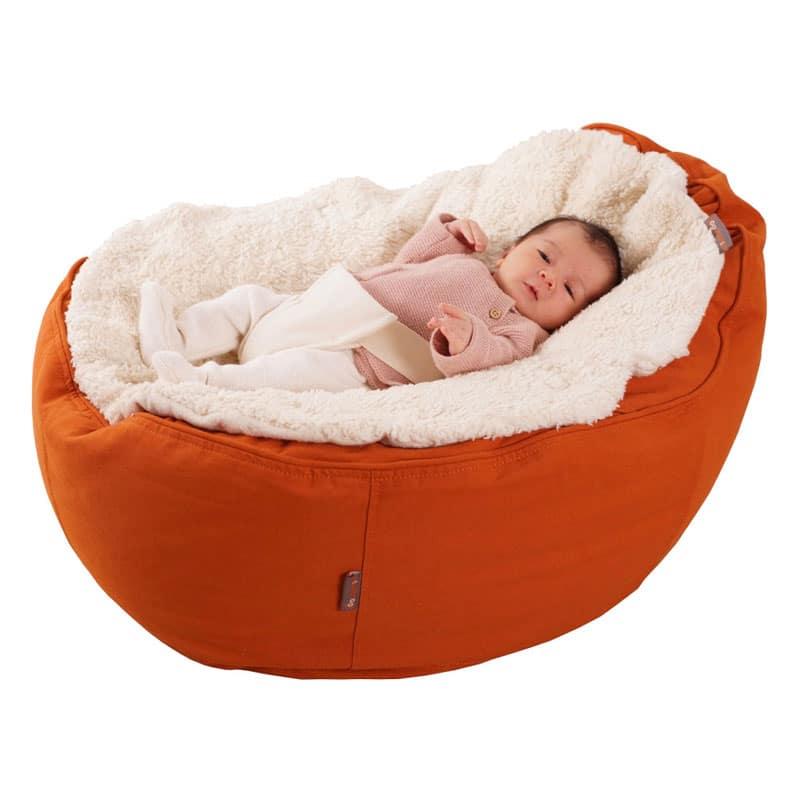 Flauschige Auflage für Baby Sitzsack Liegesack aus reiner Bio Baumwolle mit Sicherheitsgurt
