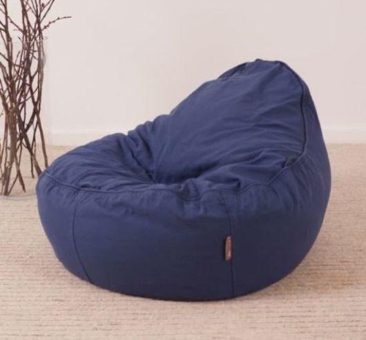 ergonomischer Baby Sitzsack für Babys und Kinder mit formbarer Füllung und Baumwoll Bezug in nachtblau
