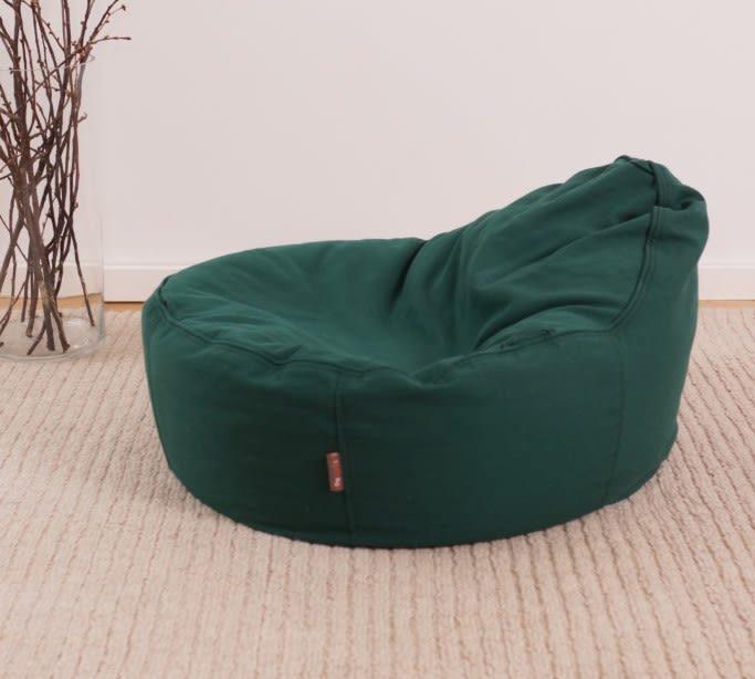 hochwertiger Sitzsack für Baby und Kleinkind in grün aus Öko Baumwolle mit Bio Dinkelspreu Füllung