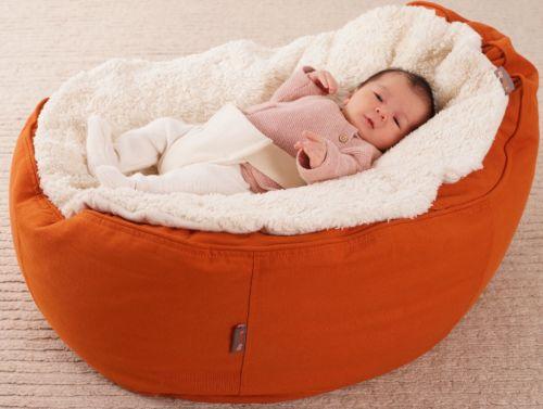 exklusiver Baby Liegesack Sitzsack aus Bio Halbpanama Baumwolle Dinkelfüllung
