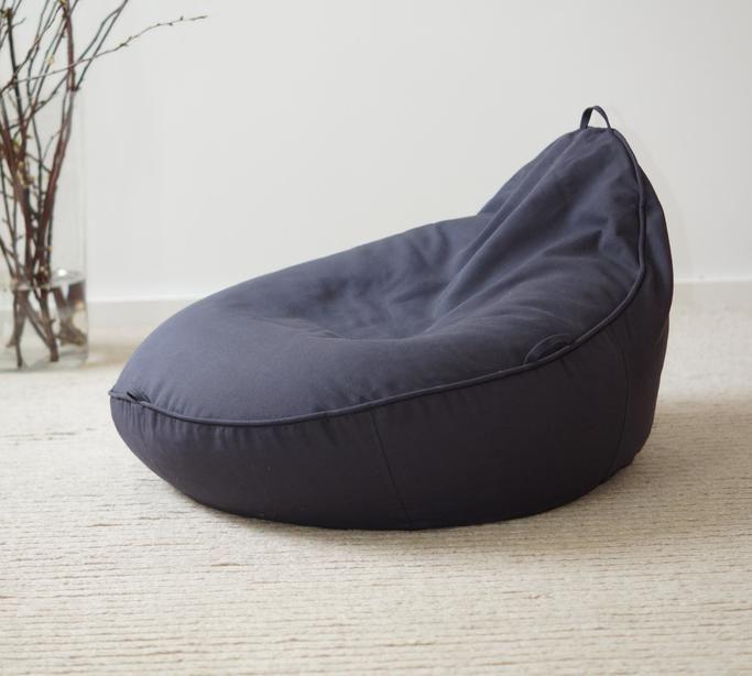 formbarer Baby-Sitzsack in anthrazit aus Baumwolle und mit Bio Dinkelspreu Füllung
