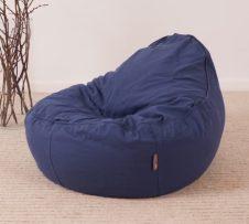hochwertiger Baby Sitzsack ergonomisch in blau aus Öko Baumwolle und Bio Dinkelspreu