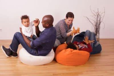 hochwertiges Sitzkissen Liegekissen für Erwachsene Jugendliche Kinder in beige grün gelb